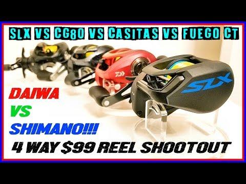 $99 REEL BATTLE! 2 SHIMANOS VS 2 DAIWAS!  SLX VS CG80 VS CASITAS VS FUEGO CT