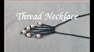 Thread necklace making at home//DIY//Tutorial//Pearls necklace making at home//Creation&you