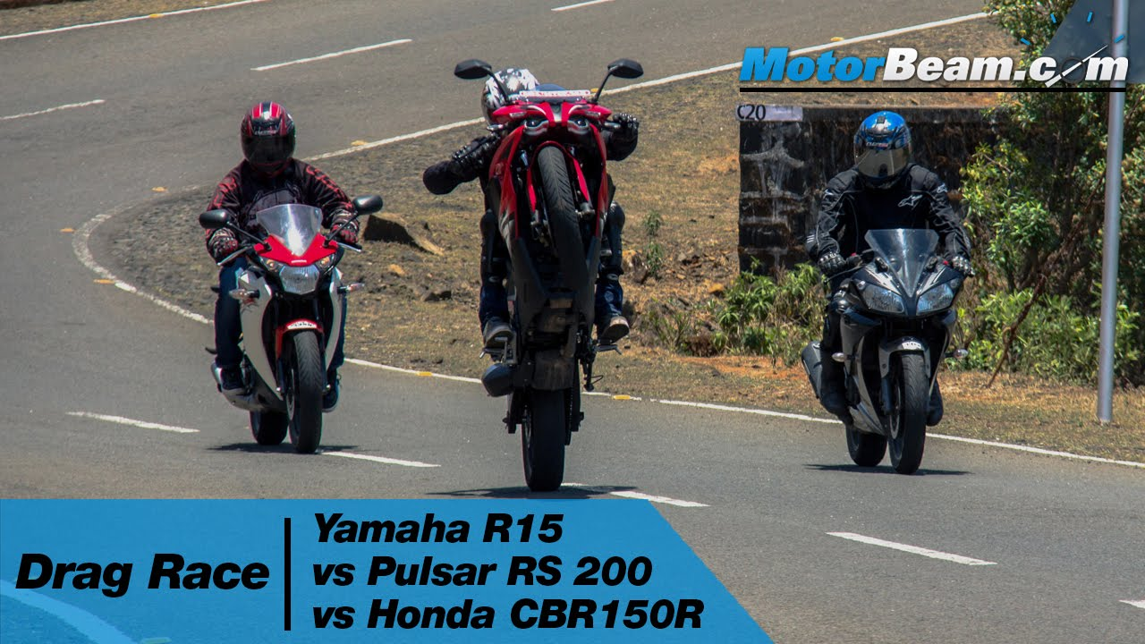 Bajaj pulsar rs200 vs ktm rc200 vs honda cbr250r comparison youtube - Yamaha R15 Vs Pulsar Rs 200 Vs Honda Cbr150r Drag Race Motorbeam