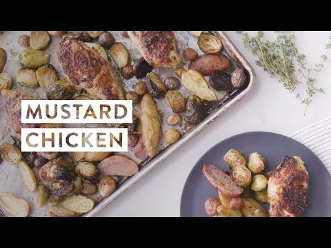 Mustard Chicken with Brussels Sprouts and Potatoes Recipe | goop