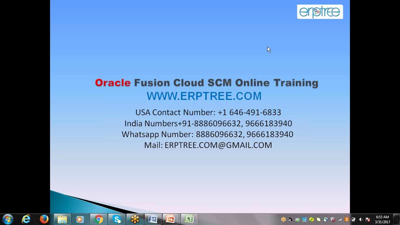 Oracle Fusion SCM Training at ERPTREE COM