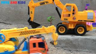 Dump Truck Toy Videos | Toys Backhoe Excavator, Crane Truck and Tractor | Trucks For Kids Children