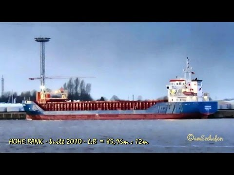 coaster HOHE BANK ZDJU8 IMO 9505302 Emden cargo seaship merchant vessel KüMo Frachtschiff