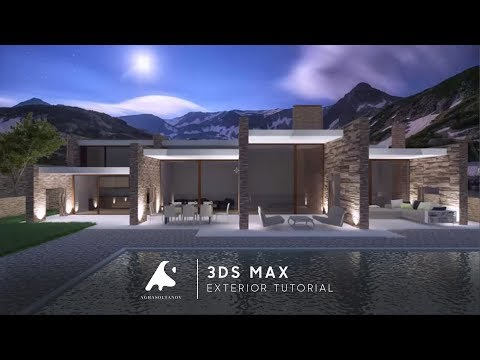 3D Max Exterior Modern Night Render Modeling Vray + Photoshop 2016