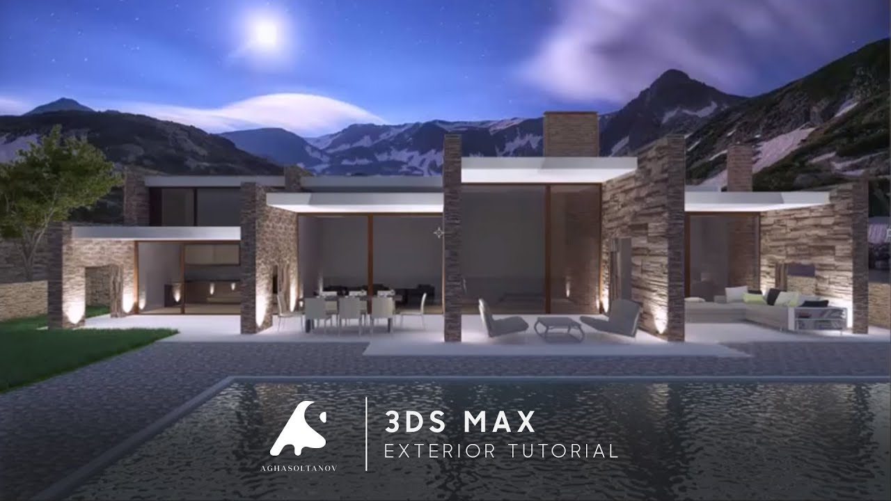 3d Max Exterior Modern Night Render Modeling Vray Photoshop 2016 Youtube