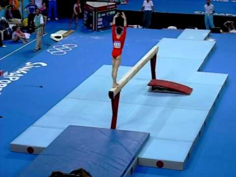 China's Tan Sixin on balance beam at Singapore Youth Olympic Games 2010