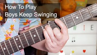 'Boys Keep Swinging' David Bowie Guitar & Bass Lesson