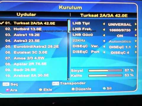 Yeni Türksat 4A Uydu Frekans Kanal Silme Kanal Ekleme Arama Ayarları 2014
