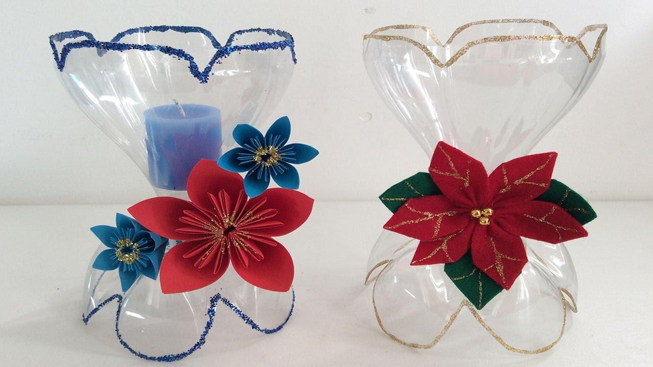 Porta velas con botellas de coca cola decoraciones - Decoracion de botellas ...