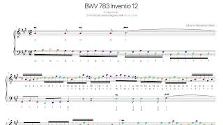 Bach  BWV 783 Movable-do solfege with colored notes -two part invention No.12-