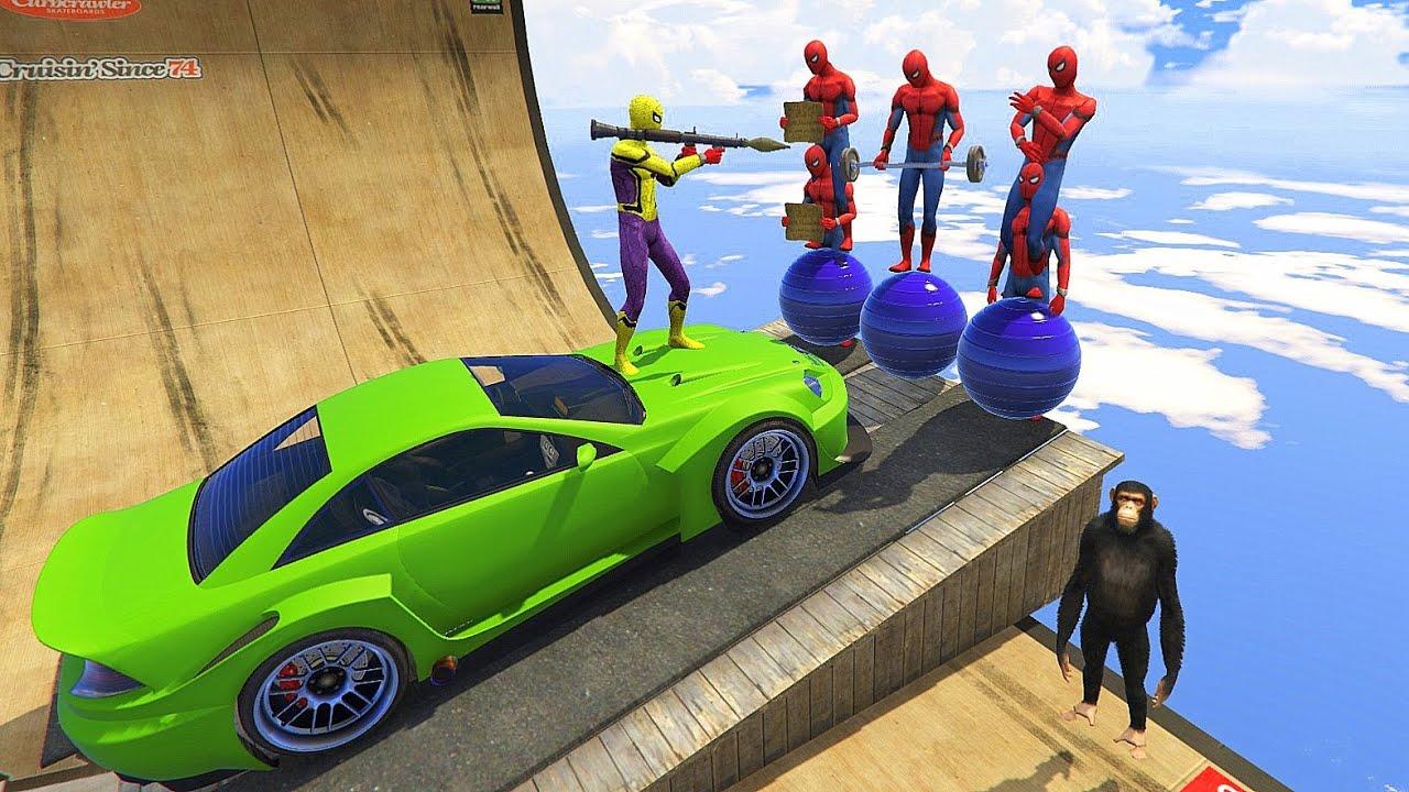 GTA 5 Water Ragdolls Red Spiderman VS Yellow Spiderman (Euphoria Physics   Funny Fails) Gameplay
