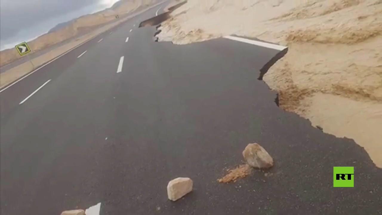 عاصفة التنين تدمر جزءا من طريق شرم الشيخ القاهرة Youtube