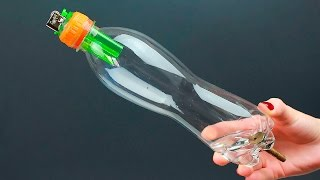 Необычная идея из бутылки и зажигалки/An unusual DIY project idea of reusing a bottle and a lighter
