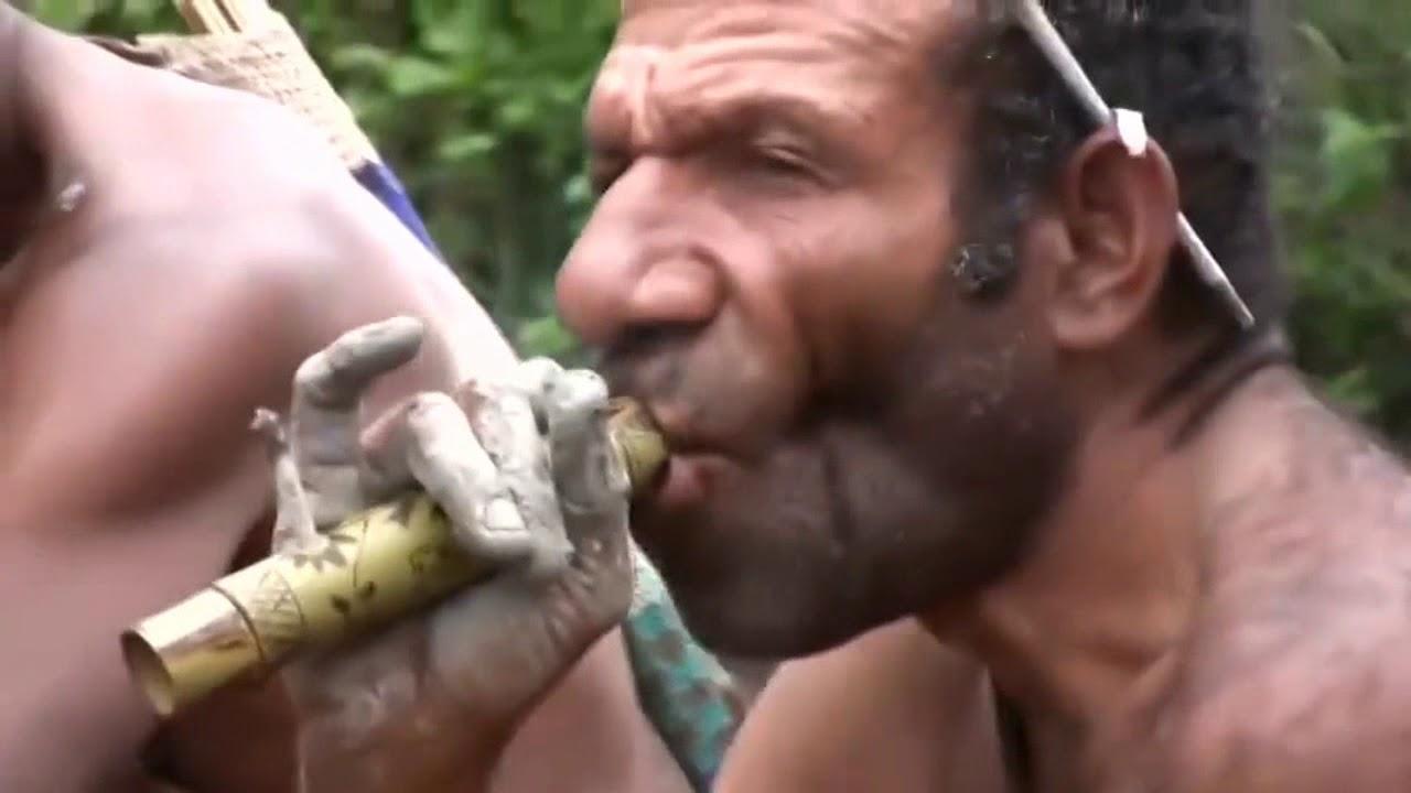 部落巴布亚新几内亚 - 他们穿着和打猎的方式