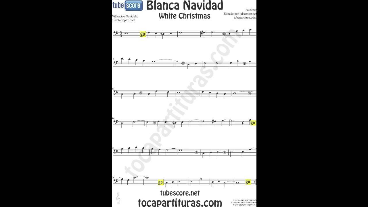 Blanca navidad video partitura en clave de fa para chelo - Blanca navidad partitura ...