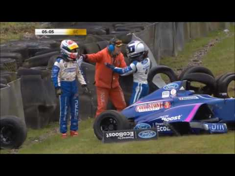 MSA F4 British Championship 2016 - Knockhill - Petru Florescu and Devlin DeFranesco Fight and Crash