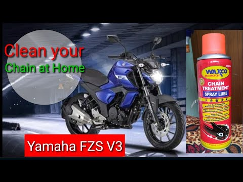 How to clean Bike chain easily at home || Yamaha fzs v3 chain cleaning