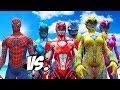SPIDERMAN VS POWER RANGERS - RED, BLUE, YELLOW, PINK, BLACK RANGERS VS SPIDERMAN