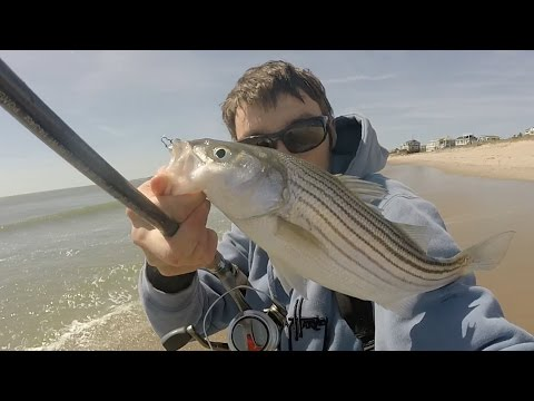 Light Tackle Early Spring Surf Casting Rhode Island 4/16/16 W/ Small Swim Baits & Bucktails