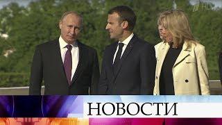 Владимир Путин и Эммануэль Макрон проводят встречу в Константиновском дворце.