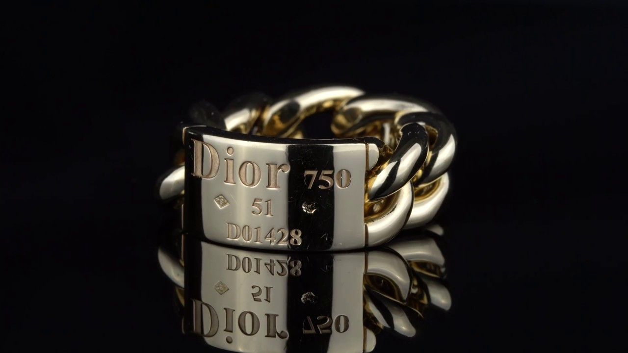 7baddb7cba1 Dior Gold Chain Gourmette Link Ring | Opulent Jewelers
