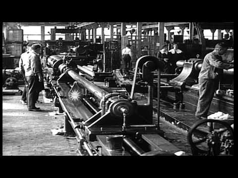 Gun barrels being made in Bethlehem Steel company plant, Bethlehem, Pennsylvania,...HD Stock Footage