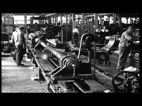 Gun barrels being made in Bethlehem Steel company plant, Bethlehem, Pennsylvania,...HD Stock Footage