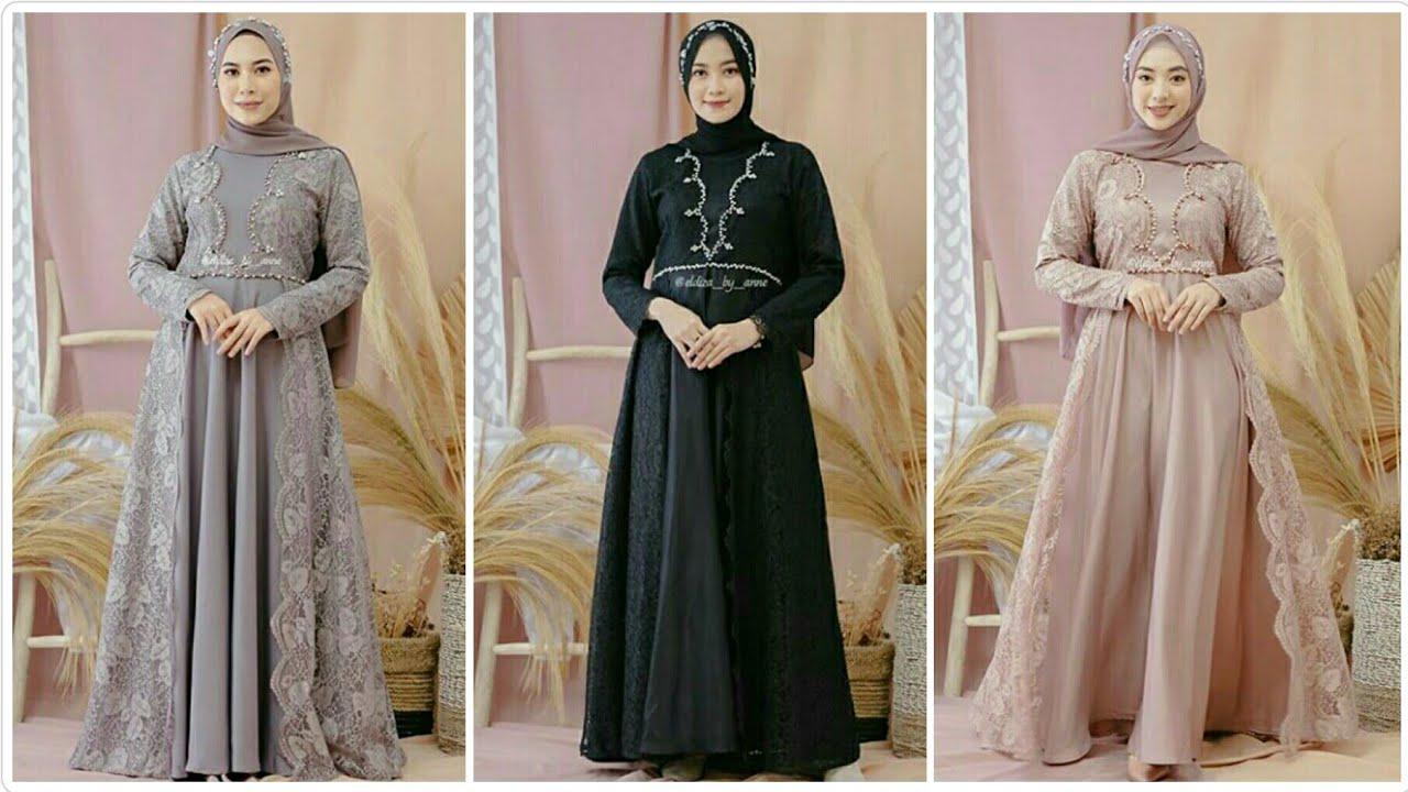 Model Gamis Brokat Pesta Muslim Terbaru Di Tahun 2020 Harga Terjangkau Youtube