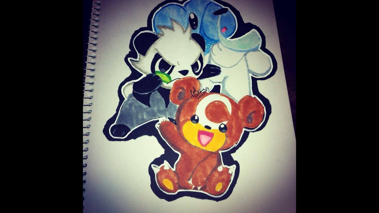 Pokemon coloring pages pancham - Copic Marker Speed Color Pok Mon X And Y Pancham Teddursa And Cubeshoo With Commentary