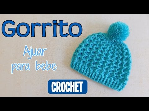 Como tejer un ajuar  Gorrito para bebe a crochet - YouTube 4b95ddc0466