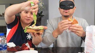 BURGER + BLINDFOLD FAST FOOD CHALLENGE! | GUESS THE FAST FOOD BURGER