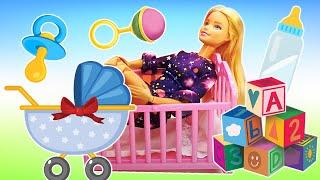 Barbie achète les affaires pour bébé. Vidéo en français pour enfants
