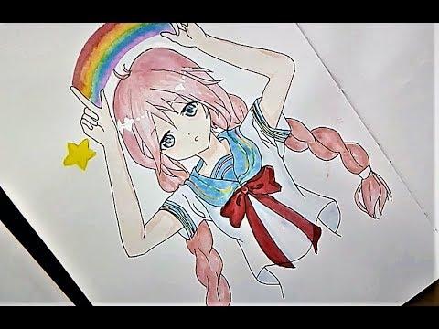 رسم انمى بنت رنا Anime Girl Drawing Rana Youtube