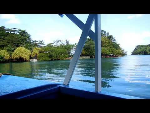 Boat ride at the world famous Blue Lagoon near Port Antonio, Jamaica