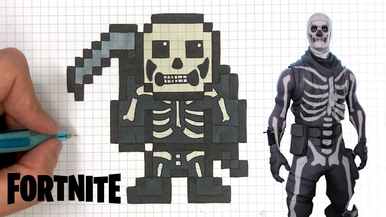 Como Desenhar Skull Trooper Skin Fortnite Pixel Art