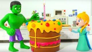 FROZEN ELSA'S BIRTHDAY CAKE ❤ SPIDERMAN, HULK & FROZEN ELSA PLAY DOH CARTOONS FOR KIDS