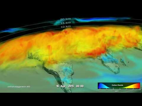 Global visualization in 3D of Carbon Dioxide in Earth's Atmosphere