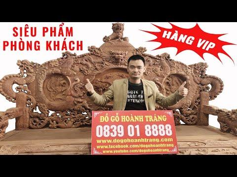 🔴 Bộ Bàn Ghế Phòng Khách Rồng Đỉnh Gỗ Hương Đỏ Lào 12 Món ( 260 triệu)