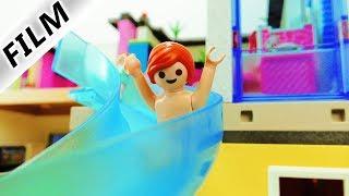 Playmobil Film Deutsch WASSERRUTSCHE VON HANNAHS ZIMMER IN DEN POOL! TYPISCH JULIAN - Familie Vogel