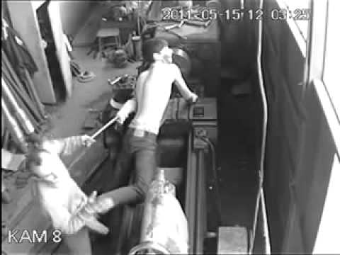 Industrial Worker Makes One Mistake On The Lathe And Pays For It