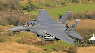 Four F-15 Eagles Low Level in the Mach Loop