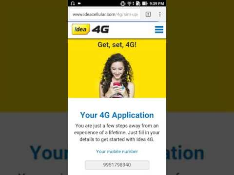 How to update Idea sim 2g to 4g sim update free know
