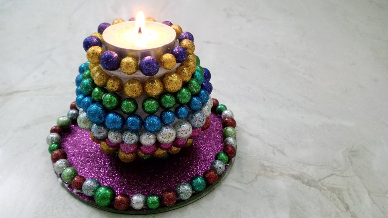 Diy candle diya holder for diwali with waste material for Latest best out of waste