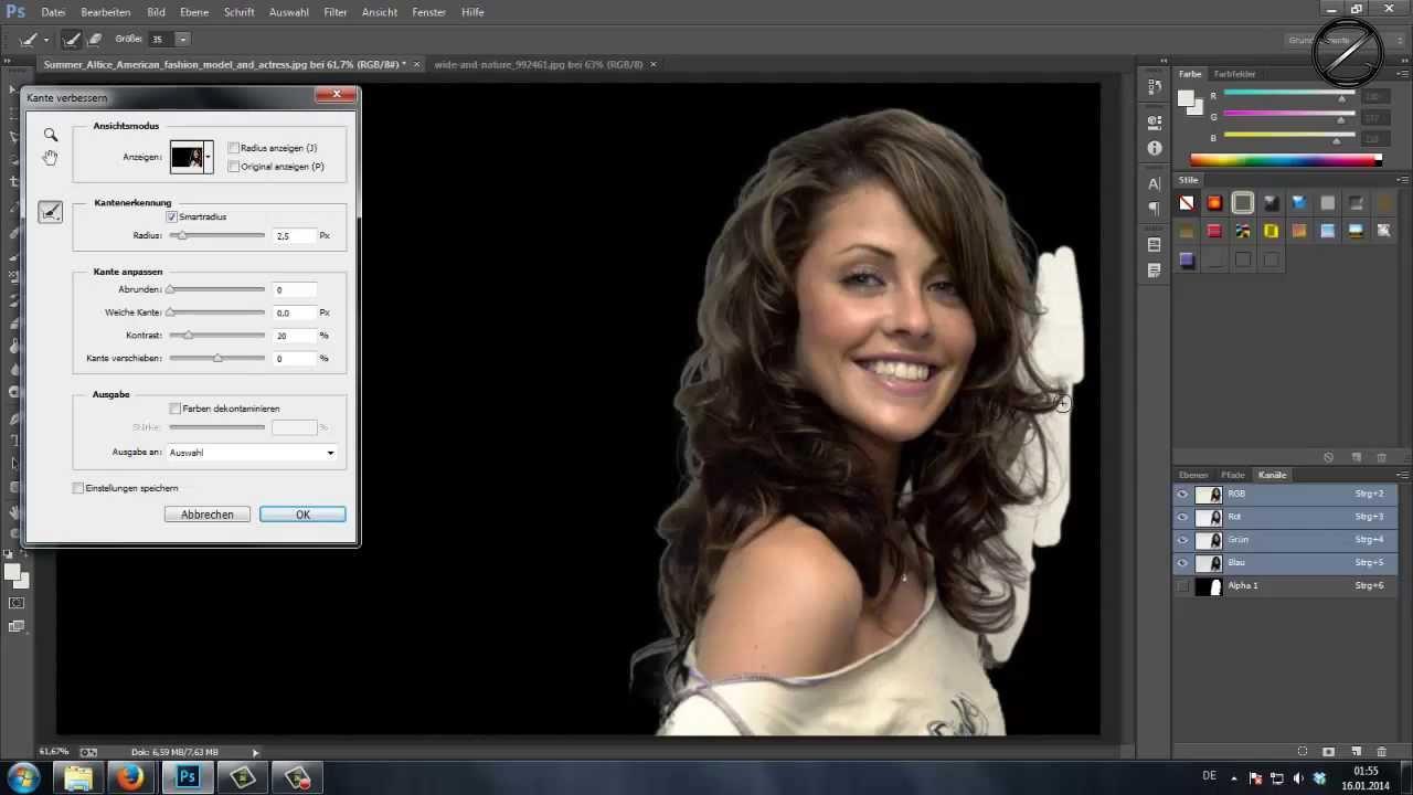 Photoshop cc 2018 Freistellen und Einfügen - YouTube
