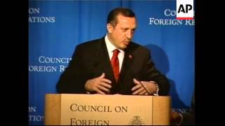 Turkish prime ministers speaks to council on foreign relations