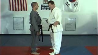Hapkido Front Bear Hug Under Arms Techniques 1 thru 4, Ji Han Jae