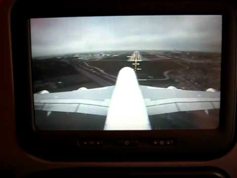 Emirates a380 landing heathrow 27 left from onboard - Emirates camera ...