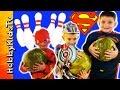 Superheroes Go Bowling! Superman, Flash + Optimus Prime Candy Surprise HobbyKidsTV
