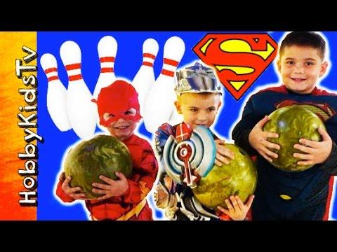 Get Superheroes Go Bowling! Superman, Flash + Optimus Prime Candy Surprise HobbyKidsTV Pictures