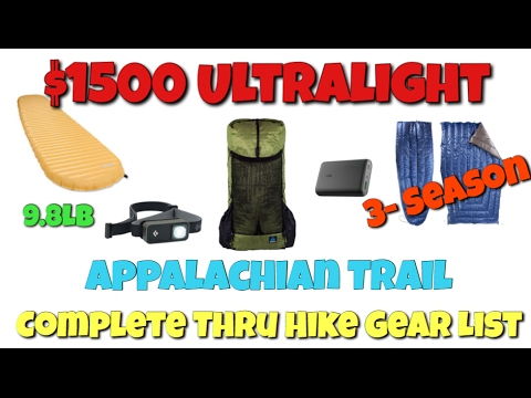 $1500 Ultralight Appalachian Trail Gear List